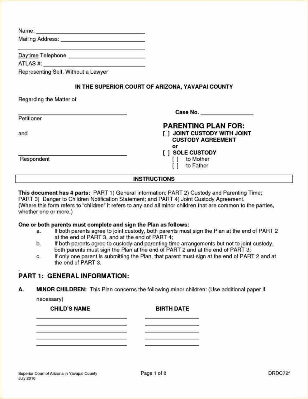 Sample Joint Custody Agreements Beautiful Joint Custody Agreement Template Sampletemplatess