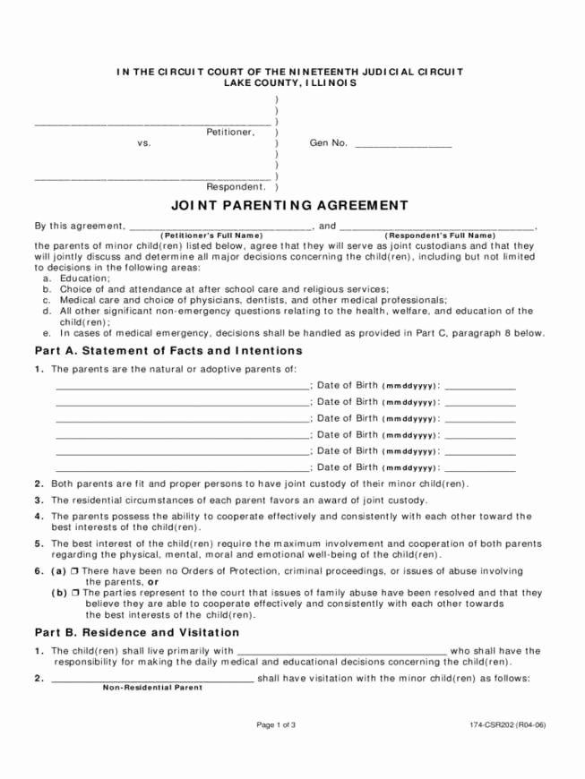 Sample Joint Custody Agreements Beautiful Legal Child Custody Agreement forms Ideal Free Joint