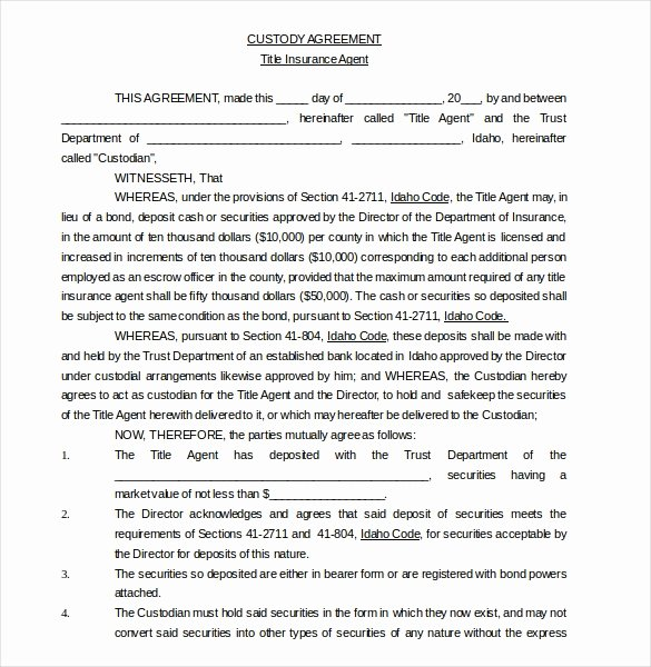 Sample Joint Custody Agreements Best Of 11 Custody Agreement Templates – Free Sample Example