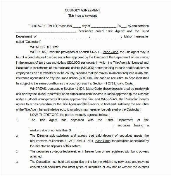 Sample Joint Custody Agreements Best Of 11 Custody Agreement Templates – Free Sample Example