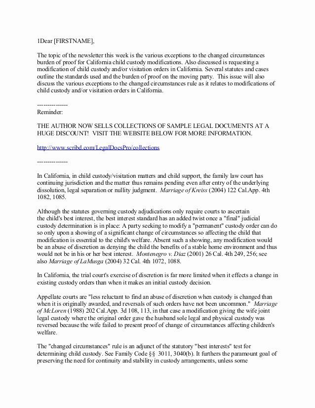 Sample Joint Custody Agreements Inspirational California Child Custody and Visitation Modifications