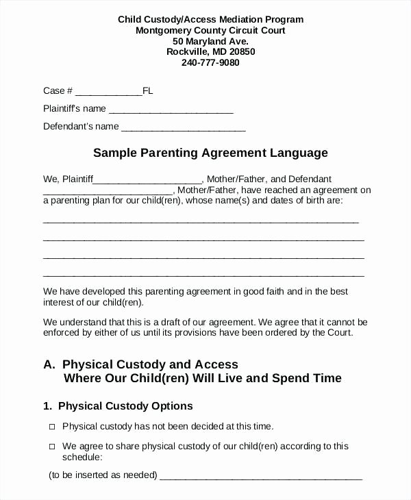 Sample Joint Custody Agreements Lovely Sample Child Custody Agreement for Unmarried Parents