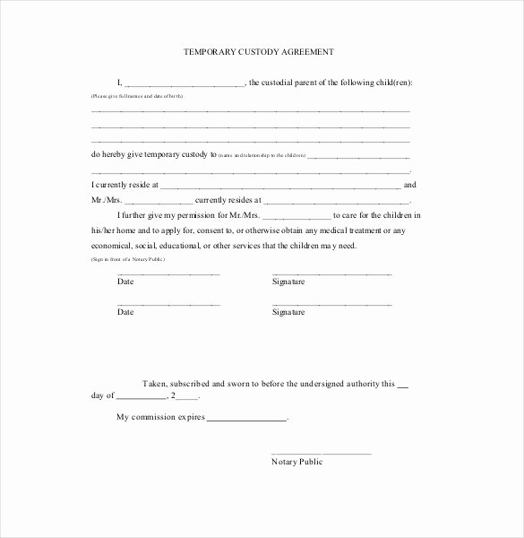 Sample Joint Custody Agreements Lovely Temporary Guardianship Agreement form