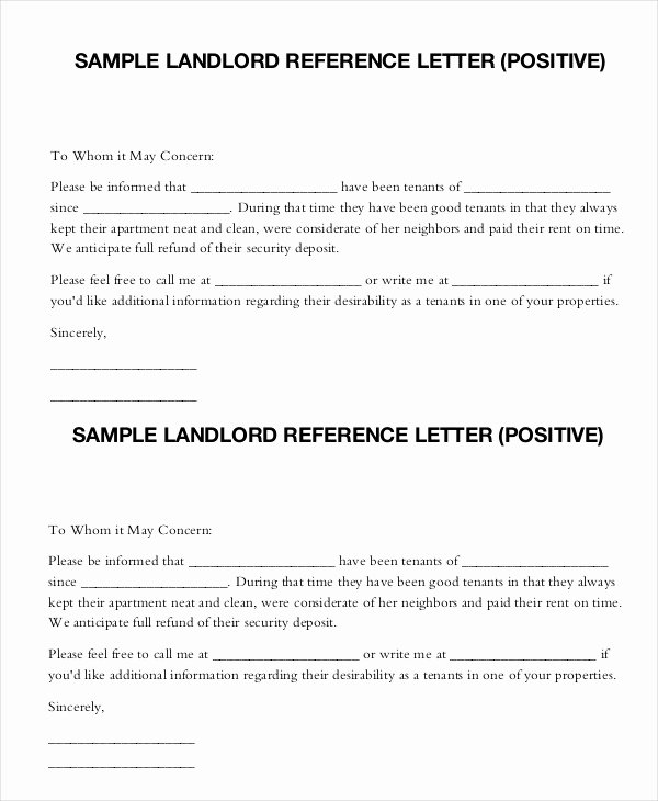 Sample Landlord Letters to Tenants Best Of Landlord Reference Letter 5 Free Sample Example