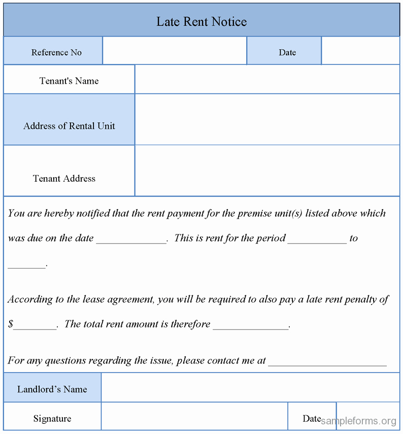 Sample Late Rent Notice Fresh Late Rent Notice form Sample forms