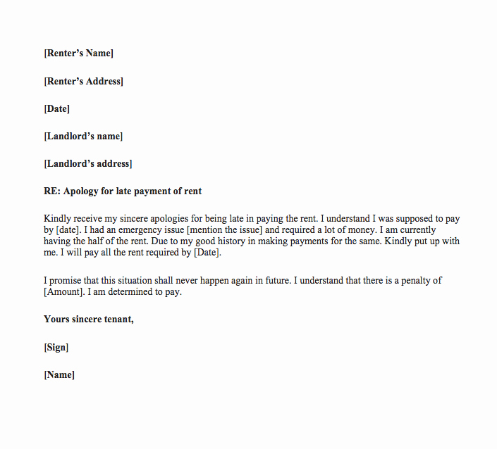 Sample Late Rent Notice Inspirational Late Rent Payment Letter to Landlord