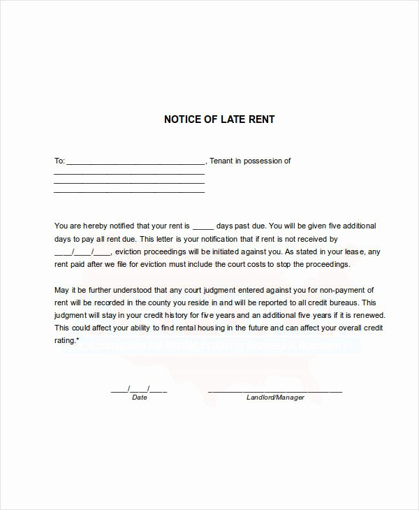 Sample Late Rent Notice Lovely Free 8 Late Rent Notice Examples & Samples In Google Docs