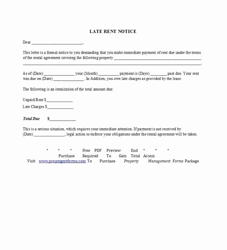 Sample Late Rent Notice Luxury 34 Printable Late Rent Notice Templates Template Lab