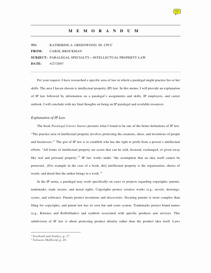 Sample Legal Memo format Best Of Writing Sample Memo On International Property Law