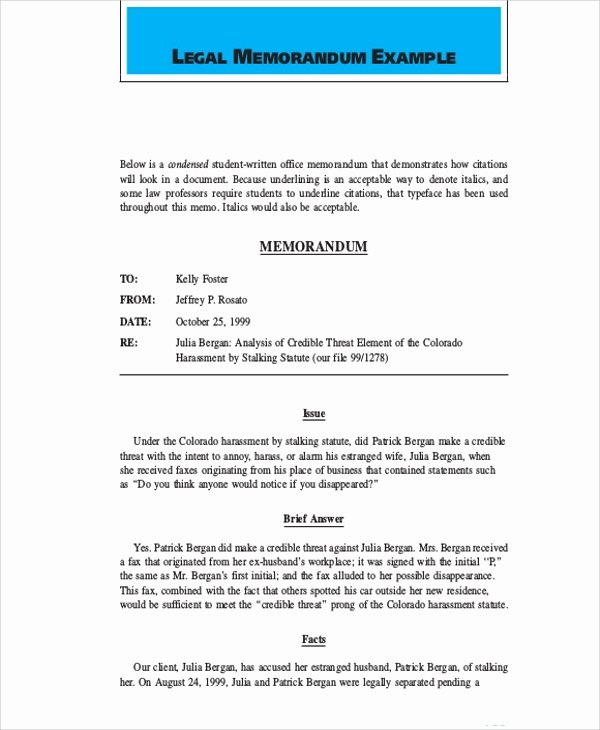 Sample Legal Memo format Elegant Sample Legal Memo 7 Documents In Pdf Word Google Docs