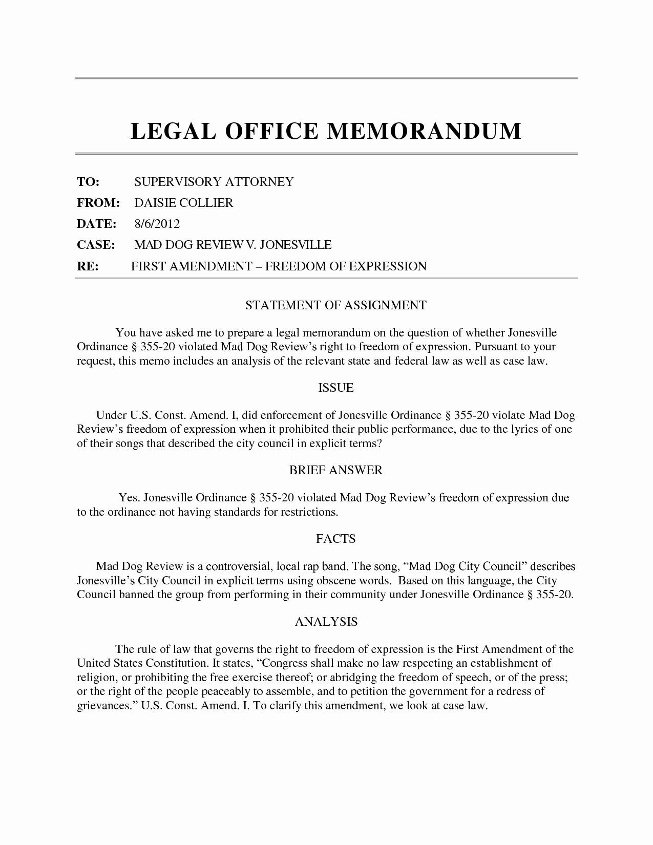 Sample Legal Memo format Fresh Best S Of Legal Memorandum format Legal Memorandum