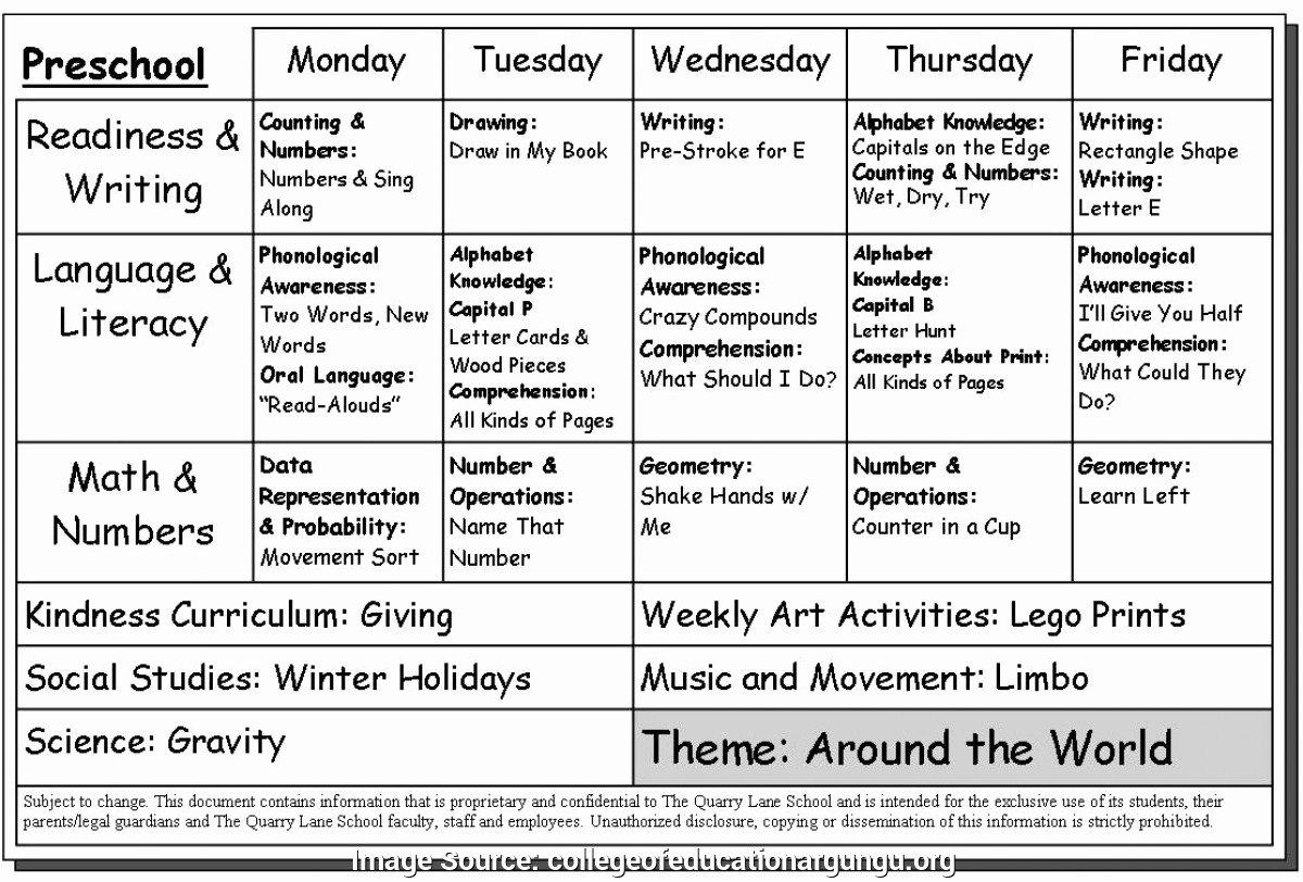 Sample Lesson Plans for toddlers Elegant Excellent Preschool Program Template 17 Activity Lesson