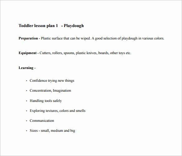 Sample Lesson Plans for toddlers Inspirational toddler Lesson Plan Template 9 Free Pdf Word format