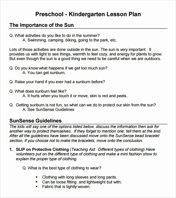 Sample Lesson Plans Kindergarten Awesome Sample Preschool Lesson Plan 10 Pdf Word formats