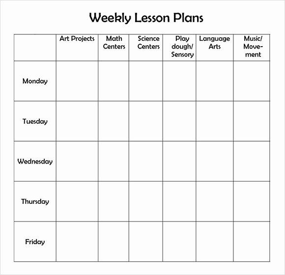 Sample Lesson Plans Kindergarten Beautiful Free Printable Weekly Lesson Plan Template …
