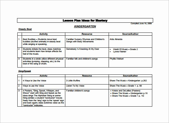 Sample Lesson Plans Kindergarten Lovely 11 Kindergarten Lesson Plan Template Pdf Doc