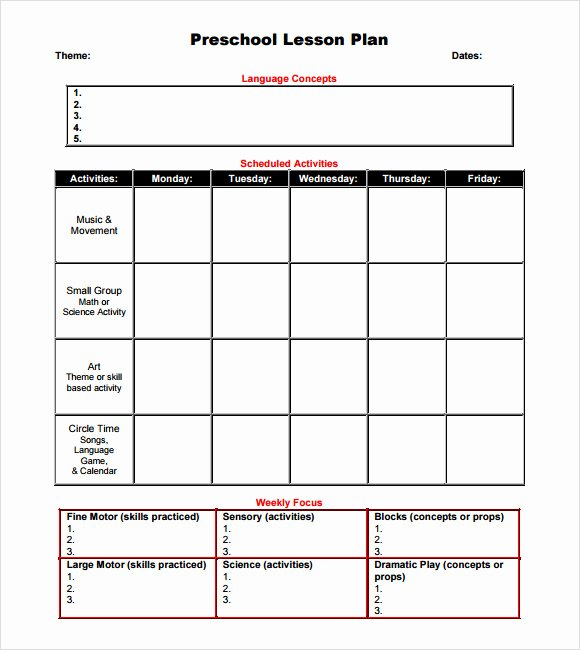 Sample Lesson Plans Kindergarten Lovely Sample Preschool Lesson Plan 10 Pdf Word formats