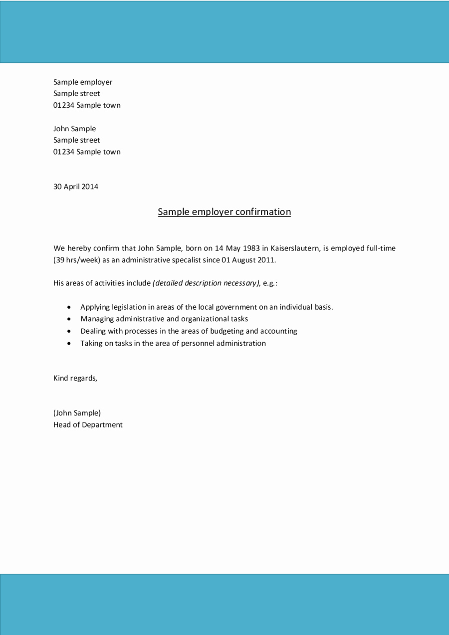 Sample Letter for Employee Awesome 2019 Proof Of Employment Letter Fillable Printable Pdf
