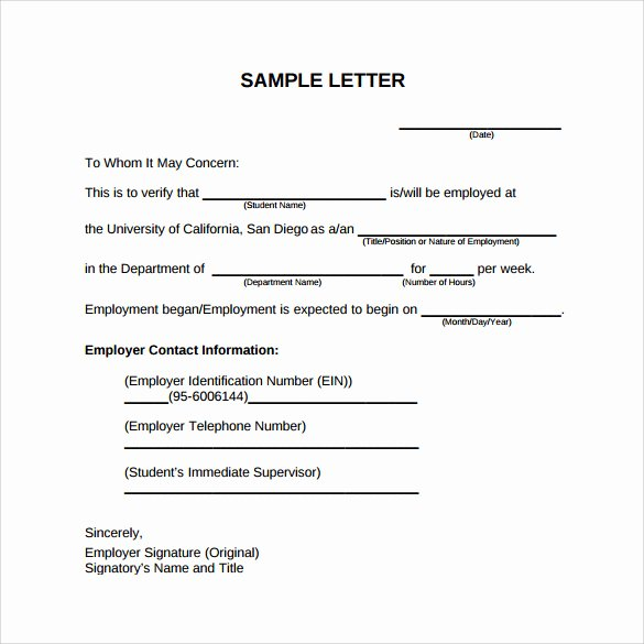 Sample Letter for Employee Awesome Employment Verification Letter 14 Download Free