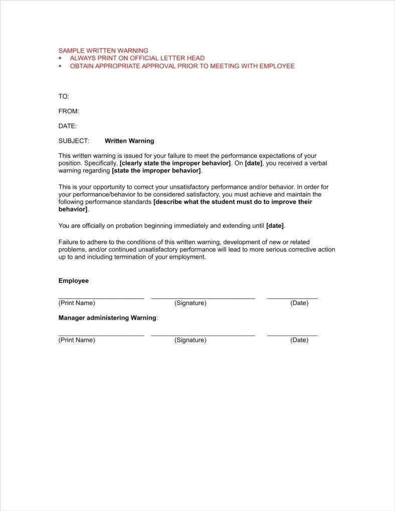 Sample Letter for Employee Beautiful 9 First and Second Warning Letter Templates Free Pdf