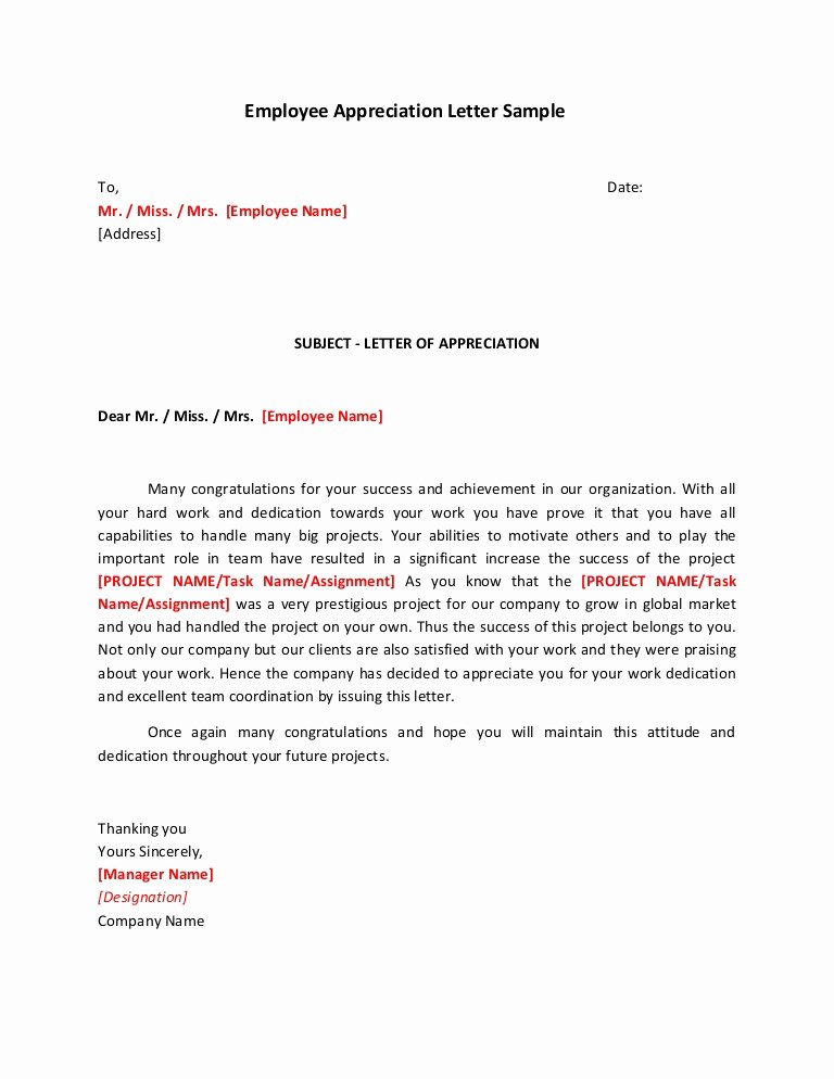 Sample Letter for Employee Best Of Employee Appreciation Letter Sample