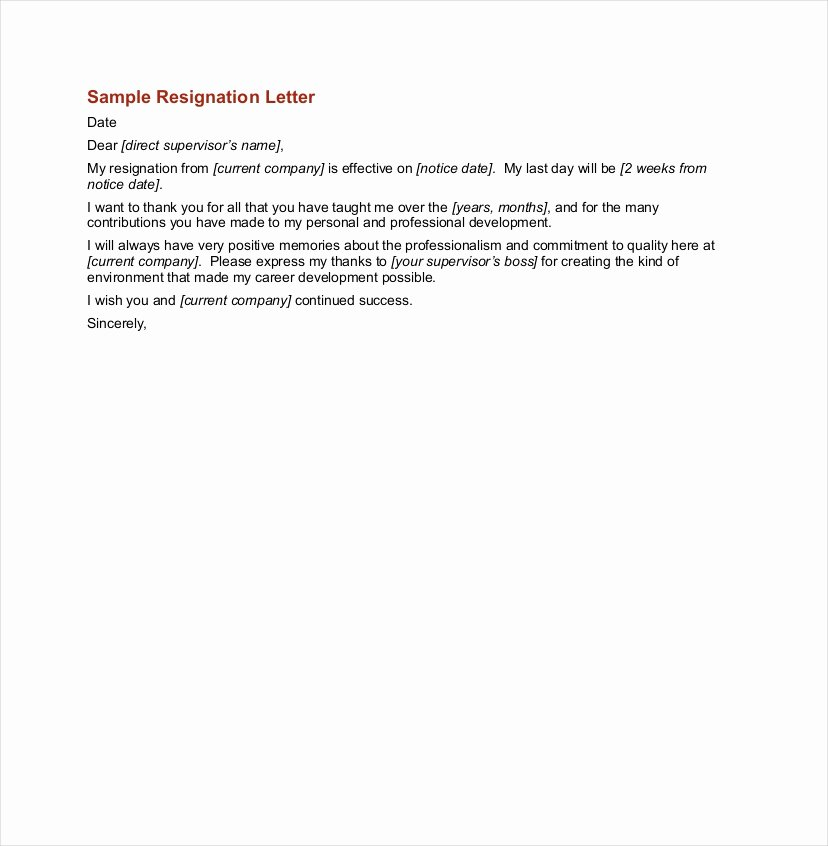Sample Letter for Employee New 9 Ficial Resignation Letter Examples Pdf