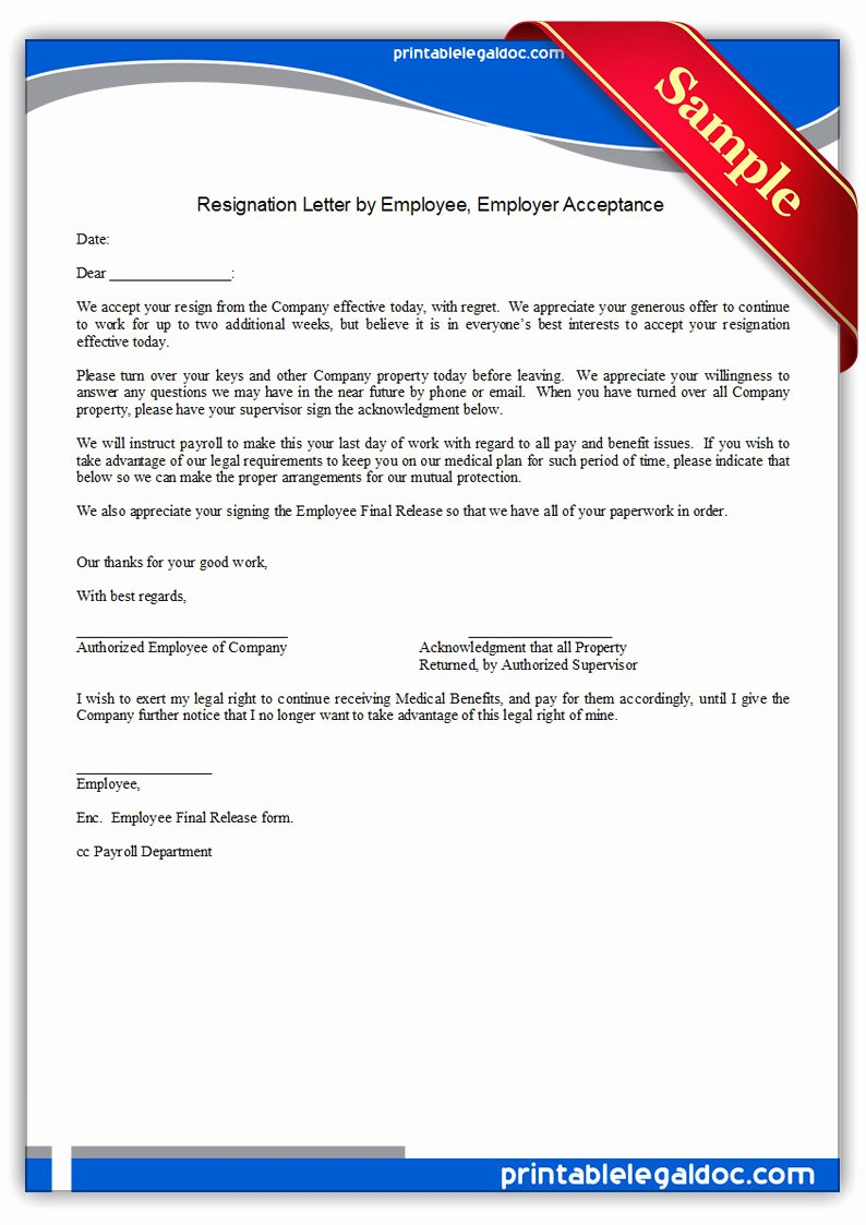 resignation letter by employee employer acceptance