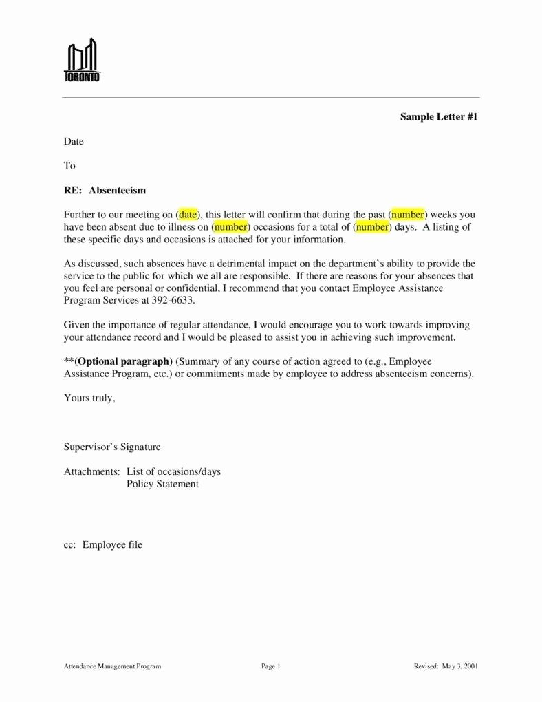 Sample Letter for Employees Best Of attendance Warning Letter Templates 10 Free Samples