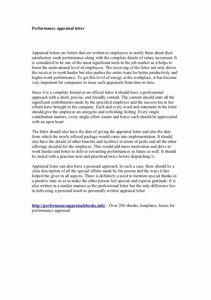 Sample Letter for Employees Best Of Performance Appraisal Letter