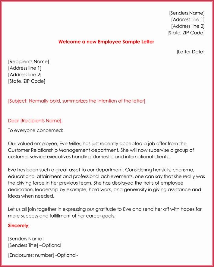 Sample Letter for Employees Best Of Wel E Letter Templates 20 Printable Samples & formats