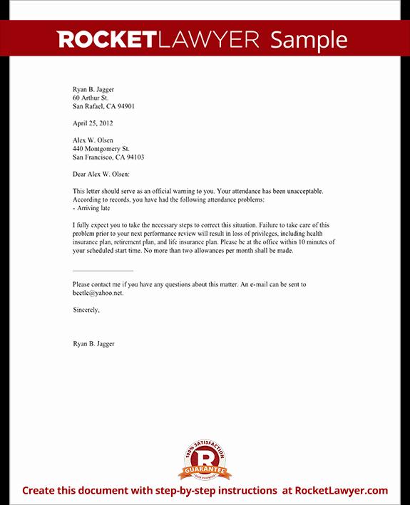 Sample Letter for Employees Fresh Employee Warning Letter Warning Letter to Employee with