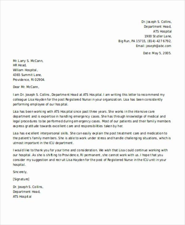 Sample Letter for Employees Inspirational Re Mendation Letter for Employee