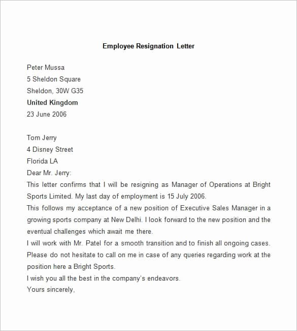Sample Letter for Employees Lovely 69 Resignation Letter Template Word Pdf Ipages
