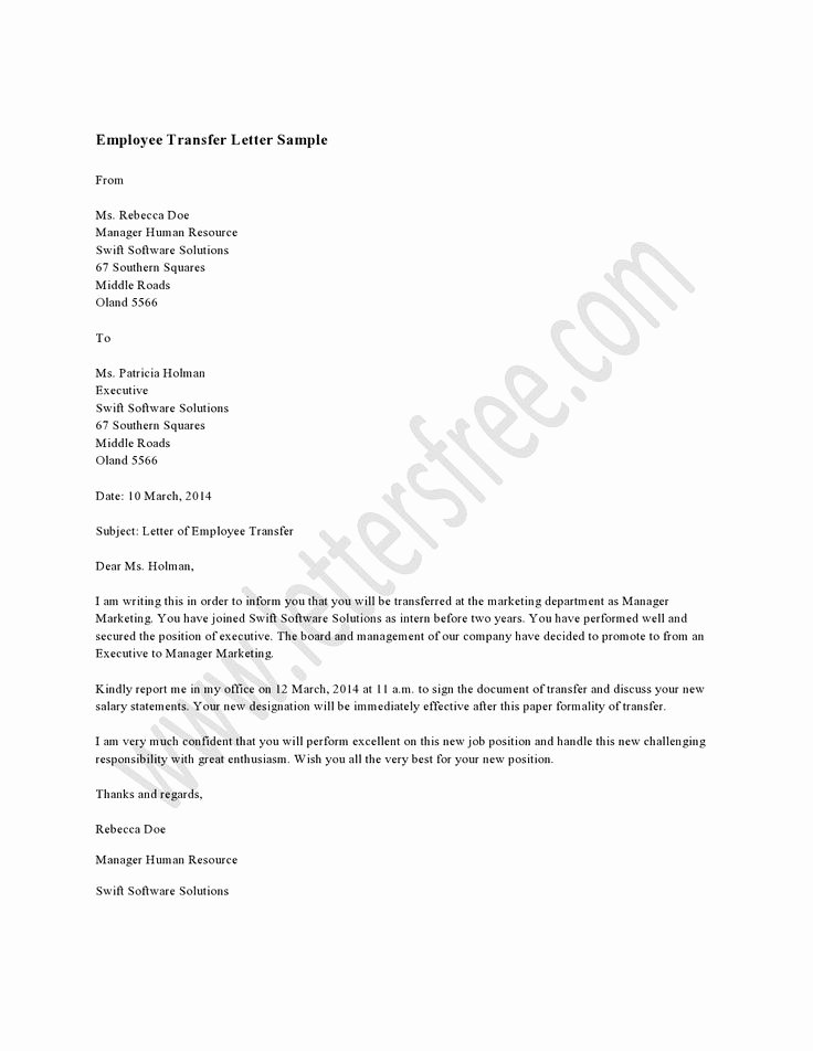 Sample Letter for Employees Unique Employee Transfer Letter Sample