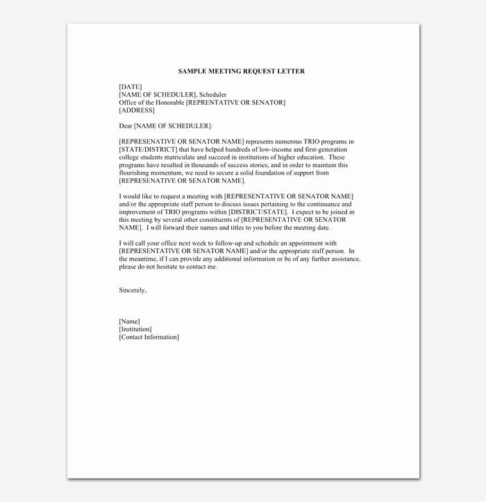 Sample Letter for Meeting Schedule Awesome Appointment Request Letter 14 Letter Samples & formats
