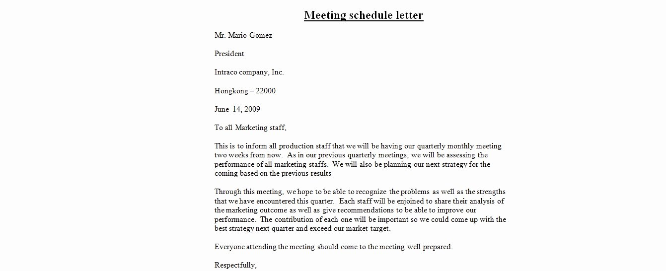 Sample Letter for Meeting Schedule Beautiful Email Template to Schedule A Meeting