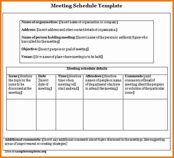 Sample Letter for Meeting Schedule Beautiful Meeting Schedule Template