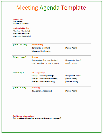 Sample Letter for Meeting Schedule New Meeting Agenda Template Agendas