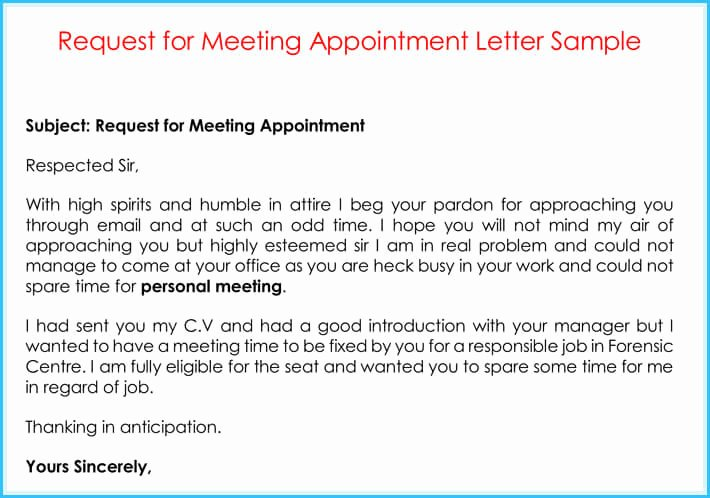 Sample Letter for Meeting Schedule Unique Pany Appointment Letters 20 Samples Examples & formats