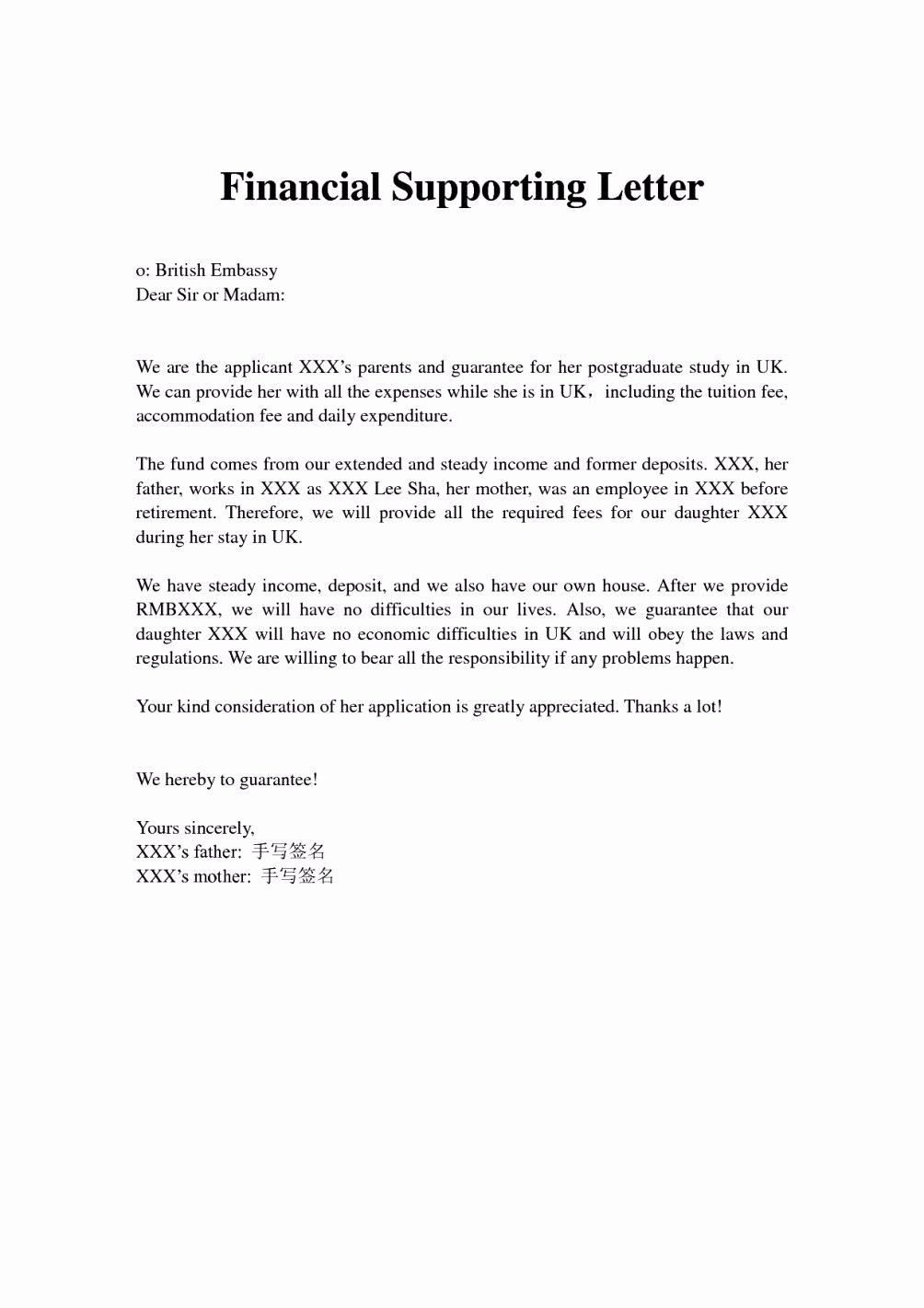 Sample Letter Of Financial Support Elegant Financial Support Letter From Parents Letter