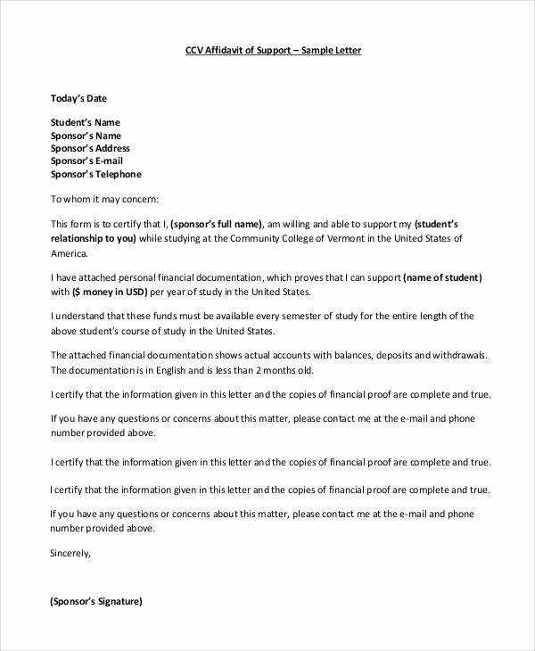 Sample Letter Of Financial Support Luxury Free 10 Affidavit Of Support Samples and Templates In Pdf