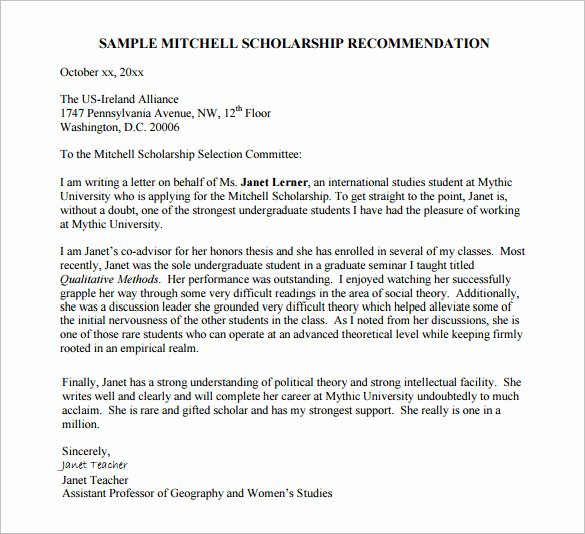 Sample Letter Of Recommendation Scholarship Best Of Sample Reference Letter for Chevening Scholarship