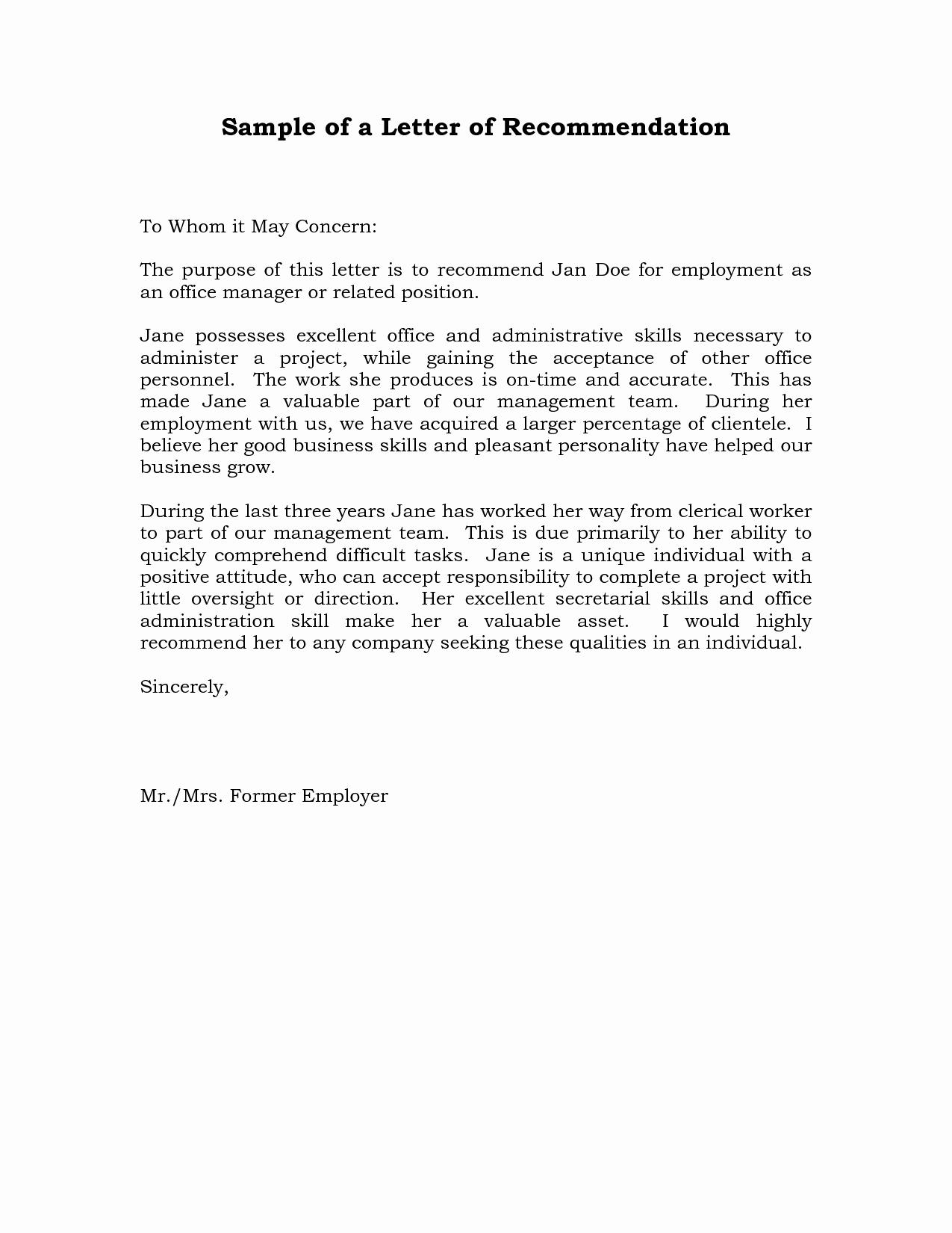 Sample Letter Of Reference Lovely Reference Letter Of Re Mendation Sample