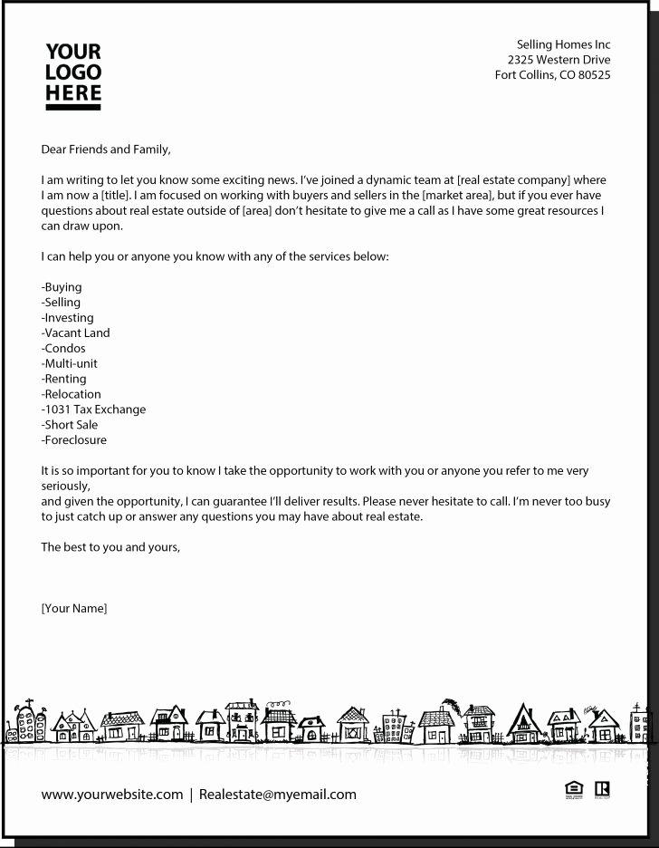 Sample Letter to Home Seller Lovely New Agent Letter Real Estate In 2019