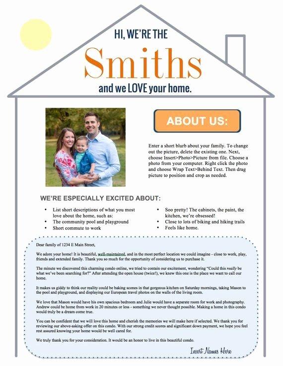 Sample Letter to Home Seller New Editable Home Offer Letter