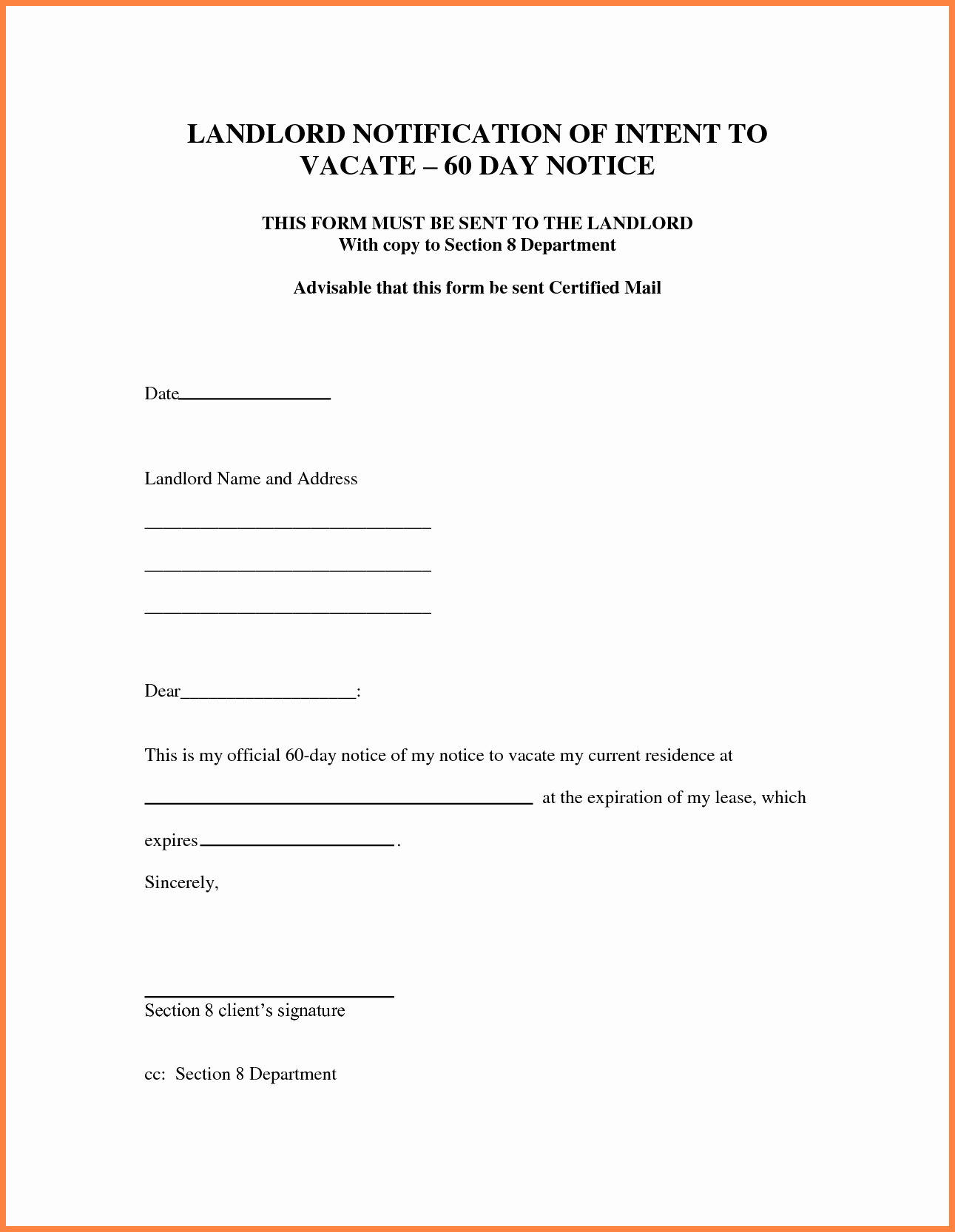 7 sample letter of 30 day notice to landlord