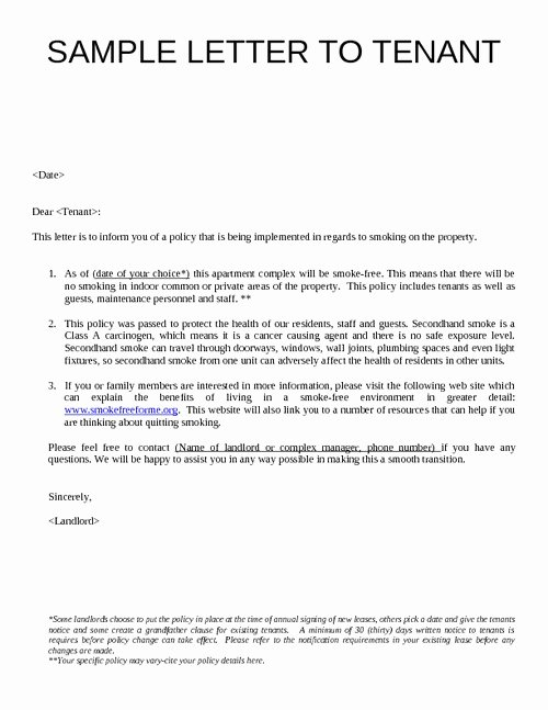 Sample Letter to Landlord Best Of Landlord Letter to Tenant