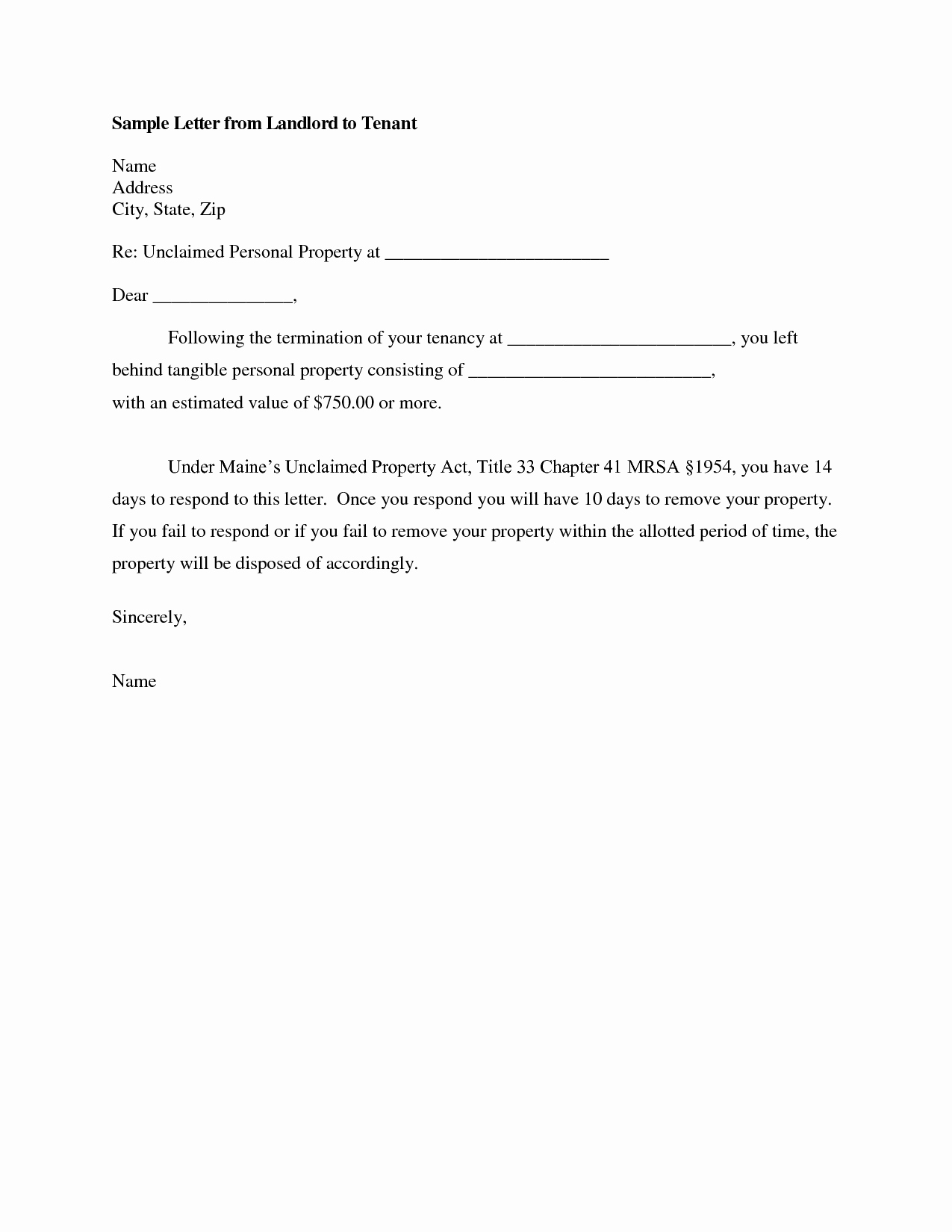 Sample Letter to Landlord Elegant Best S Of Letters From Landlords to Tenants Sample