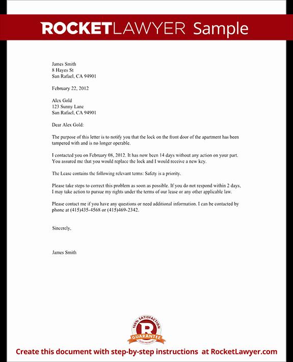 Sample Letter to Landlord Elegant Plaint Letter to Landlord Template with Sample