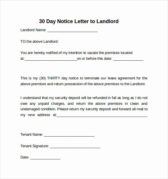 Sample Letter to Landlord Inspirational 10 Sample 30 Days Notice Letters to Landlord In Word